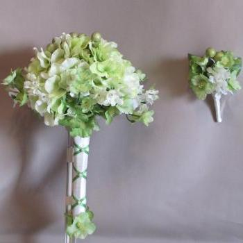 Light Green Hydrangeas Bridal Bouquet with Grooms Matching Boutonniere - Handmade in Colorado